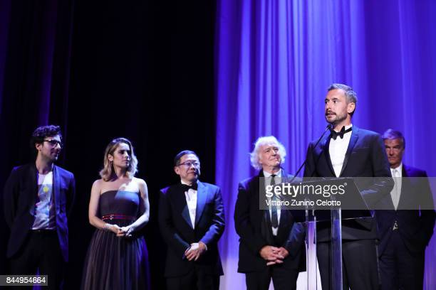 Xavier Legrand receives the 'Luigi De Laurentiis' Venice Award for a Debut Film Award for 'Jusqu'à la Garde' during the Award Ceremony of the 74th...