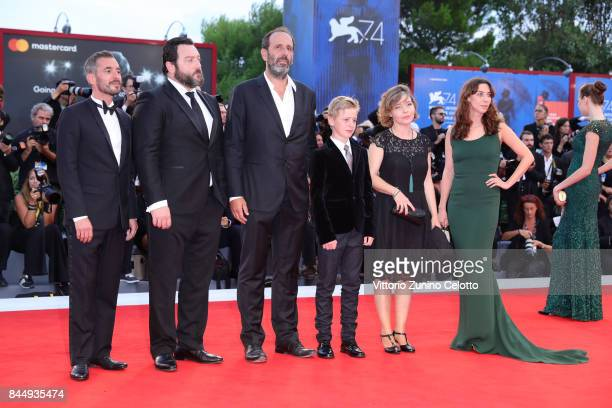 Xavier LegrandDenis MenochetAlexandre GavrasThomas GioriaSophie Pincemaille and Mathilde Auneveux arrive at the Award Ceremony during the 74th Venice...