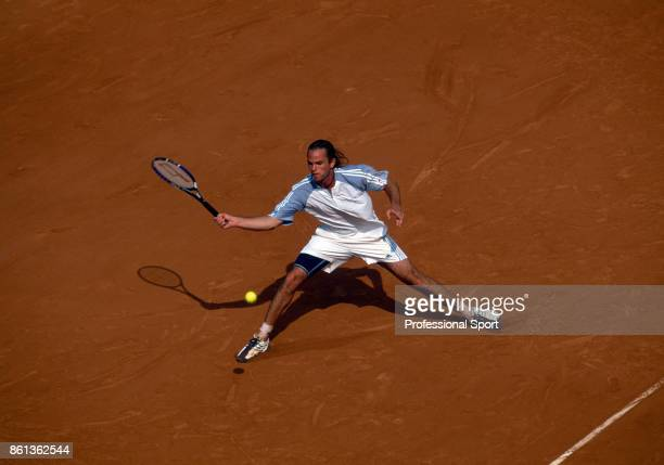 Xavier Malisse of Belgium in action during the French Open Tennis Championships at the Stade Roland Garros circa May 2003 in Paris France