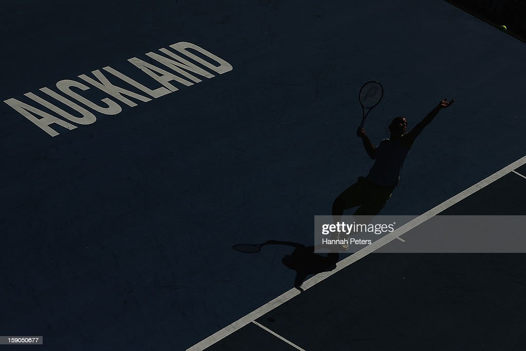 Xavier Malisse of Belgium serves during his first round match against Martin Kilzan of Slovakia during day one of the Heineken Open at ASB Tennis Centre on January 7, 2013 in Auckland, New Zealand.