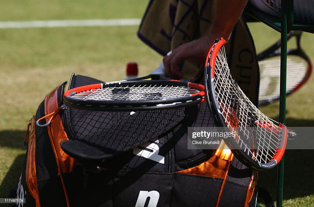 Xavier Malisse's broken racket during his fourth round match against Bernard Tomic of Australia on Day Seven of the Wimbledon Lawn Tennis Championships at the All England Lawn Tennis and Croquet Club on June 27, 2011 in London, England.