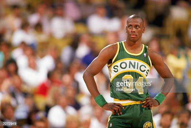 Xavier McDaniel of the Seattle Supersonics looks on during a game in the 19891990 NBA season