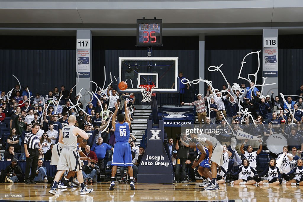Xavier Musketeers fans try to distract a free throw against Geron Johnson #55 of the Memphis Tigers during the game at Cintas Center on February 26, 2013 in Cincinnati, Ohio. Xavier defeated Memphis 64-62.