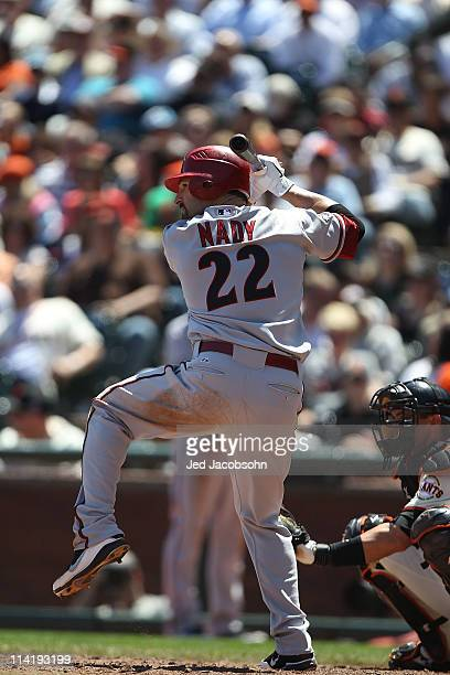 Xavier Nady of the Arizona Diamondbacks bats against the San Francisco Giants during an MLB game at ATT Park on May 12 2011 in San Francisco...