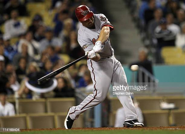 Xavier Nady of the Arizona Diamondbacks hits an RBI single in the eighth inning against the Los Angeles Dodgers on May 13 2011 at Dodger Stadium in...