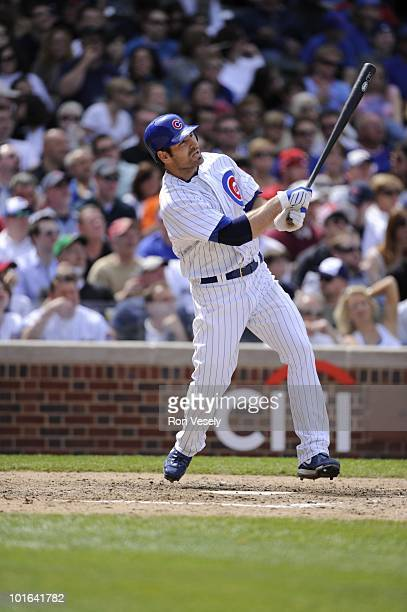 Xavier Nady of the Chicago Cubs bats against the Pittsburgh Pirates on May 14 2010 at Wrigley Field in Chicago Illinois The Pirates defeated the Cubs...