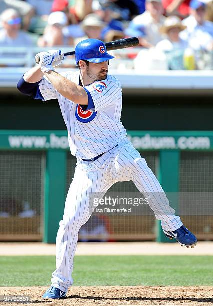 Xavier Nady of the Chicago Cubs bats during a spring training game against the Texas Rangers on March 16 2010 at HoHoKam Park in Mesa Arizona