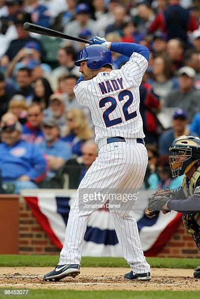 Xavier Nady of the Chicago Cubs prepares to bat against the Milwaukee Brewers on Opening Day at Wrigley Field on April 12 2010 in Chicago Illinois...