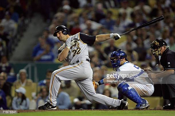 Xavier Nady of the Pittsburgh Pirates bats against the Los Angeles Dodgers on September 20 2006 at Dodger Stadium in Los Angeles CaliforniaThe...