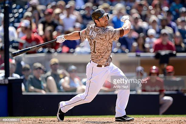 Xavier Nady of the San Diego Padres hits in the game against the Arizona Diamondbacks at Petco Park on May 4 2014 in San Diego California