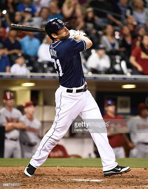 Xavier Nady of the San Diego Padres plays during a baseball game against the Arizona Diamondbacks at Petco Park May 3 2014 in San Diego California