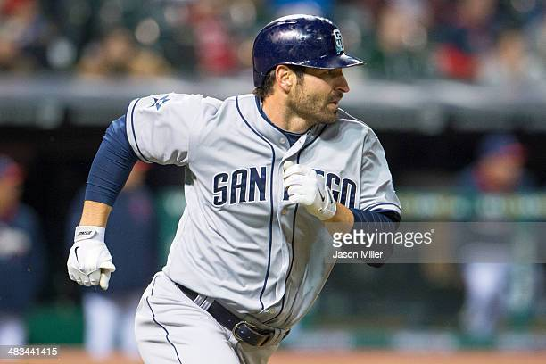 Xavier Nady of the San Diego Padres rounds the bases after hitting a solo home run during the ninth inning against the Cleveland Indians at...
