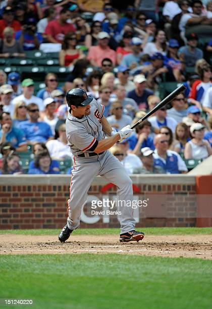 Xavier Nady of the San Francisco Giants bats against the Chicago Cubs on September 2 2012 at Wrigley Field in Chicago Illinois