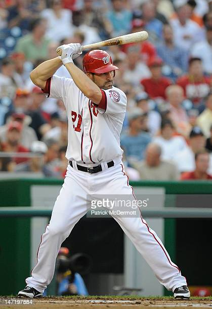 Xavier Nady of the Washington Nationals in action against the Tampa Bay Rays during an interleague game at Nationals Park on June 21 2012 in...
