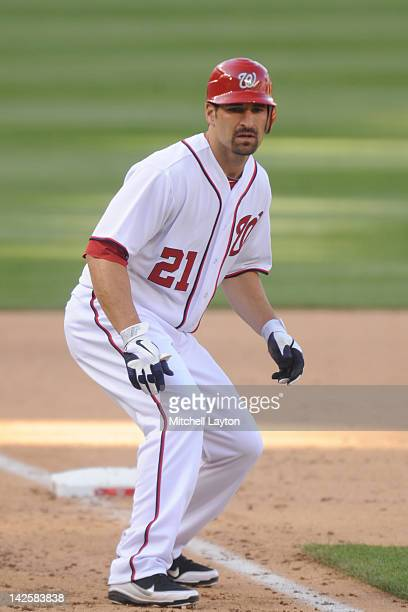 Xavier Nady of the Washington Nationals leads off third base during an exhibition baseball game against the Boston Red Sox on April 3 2012 at...