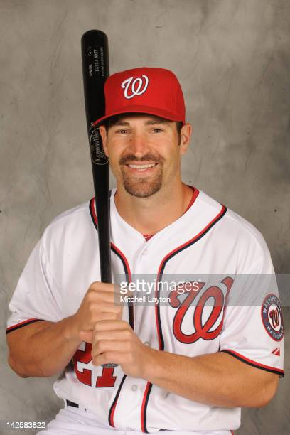 Xavier Nady of the Washington Nationals poses for a head shot during an exhibition baseball game against the Boston Red Sox on April 3 2012 at...