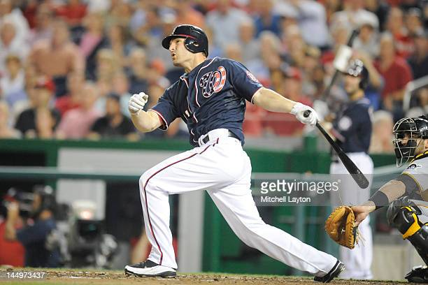 Xavier Nady of the Washington Nationals takes a swing during a baseball game against the Pittsburgh Pirates at Nationals Park on May 16 2012 in...