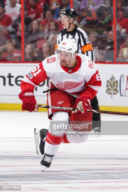 Xavier Ouellet of the Ottawa Senators XXXXX against the Detroit Red Wings at Canadian Tire Centre on October 7 2017 in Ottawa Ontario Canada