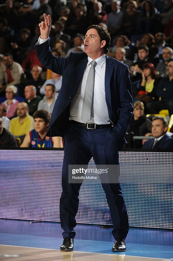 Xavier Pascual, Head Coach of FC Barcelona Regal in action during the 2012-2013 Turkish Airlines Euroleague Top 16 Date 6 between FC Barcelona Regal v Montepaschi Siena at Palau Blaugrana on January 31, 2013 in Barcelona, Spain.