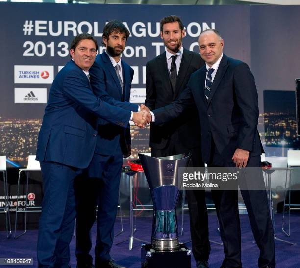 Xavier Pascual Head Coach of FC Barcelona Regal Juan Carlos Navarro #11 Rudy Fernandez #5 of Real Madrid and Pablo Laso Head Coach poses with...