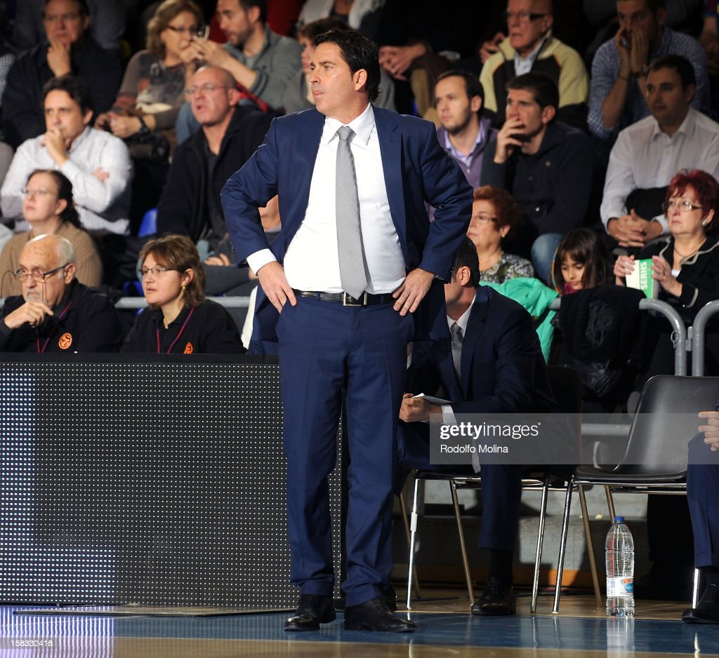 Xavier Pascual, Head Coach of FC Barcelona Regal watches the action from the touchline during the 2012-2013 Turkish Airlines Euroleague Regular Season Game Day 10 between FC Barcelona Regal v CSKA Moscow at Palau Blaugrana on December 13, 2012 in Barcelona, Spain.
