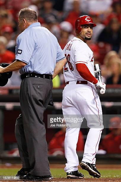 Xavier Paul of the Cincinnati Reds argues with home plate umpire Dale Scott after being called out on strikes while batting against the Milwaukee...
