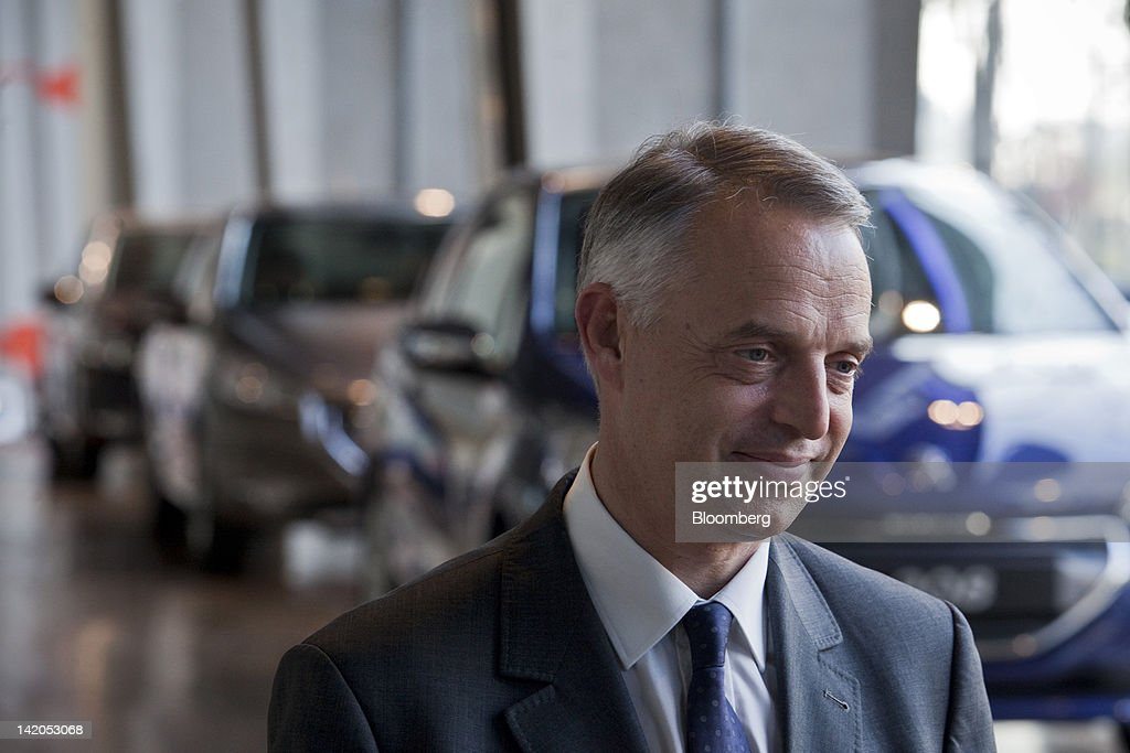 Xavier Peugeot, product director for the Peugeot SA brand, pauses during a television interview at the company's headquarters in Paris, France, on Wednesday, March 28, 2012. PSA Peugeot Citroen SA, Europe's second-biggest carmaker, seeks leadership in the region's small-car segment with its new 208 model. Photographer: Balint Porneczi/Bloomberg via Getty Images