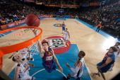 Xavier Rabaseda #22 of FC Barcelona Regal in action during the 20122013 Turkish Airlines Euroleague Top 16 Date 1 between FC Barcelona Regal v...
