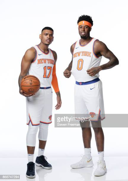 Xavier RathanMayes and Jamel Artis of the New York Knicks pose for a portrait during Media Day on September 25 2017 at the Knicks Practice Center in...