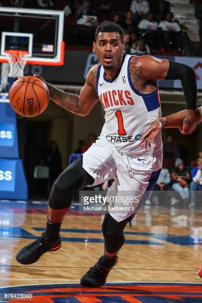 Xavier RathanMayes of the Westchester Knicks Drives to the basket against the Lakeland Magic during an NBA GLeague game on November 19 2017 at...