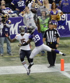 Xavier Rhodes of the Minnesota Vikings tips a pass intended for Brandon Marshall of the Chicago Bears during the first quarter of the game on...