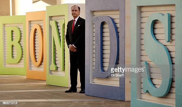 Xavier Rolet the Chief Executive of the London Stock Exchange poses for photographs in front of giant letter blocks spelling the word 'Bonds' on...