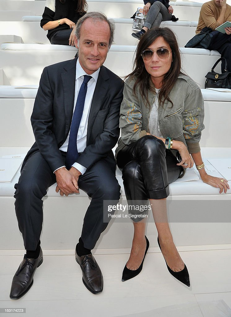 Xavier Romatet (L) and <a gi-track='captionPersonalityLinkClicked' href=/galleries/search?phrase=Emmanuelle+Alt&family=editorial&specificpeople=758682 ng-click='$event.stopPropagation()'>Emmanuelle Alt</a> attend the Chloe Spring / Summer 2013 show as part of Paris Fashion Week at Espace Ephemere Tuileries on October 1, 2012 in Paris, France.