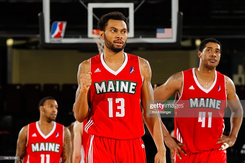 <a gi-track='captionPersonalityLinkClicked' href=/galleries/search?phrase=Xavier+Silas&family=editorial&specificpeople=7405347 ng-click='$event.stopPropagation()'>Xavier Silas</a> #13 of the Maine Red Claws looks to the bench during a break in action in the NBA D-League game against the Idaho Stampede on December 26, 2012 at CenturyLink Arena in Boise, Idaho.