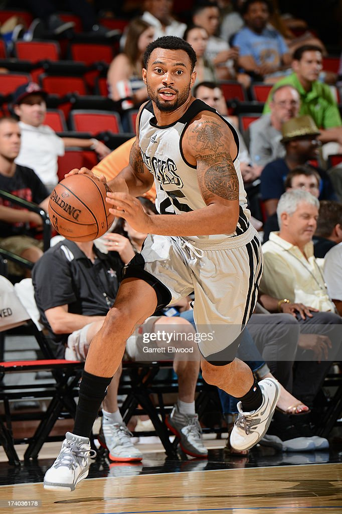 Xavier Silas #25 of the Milwaukee Bucks dribbles to the basket versus the San Antonio Spurs during NBA Summer League on July 19, 2013 at the Cox Pavilion in Las Vegas, Nevada.