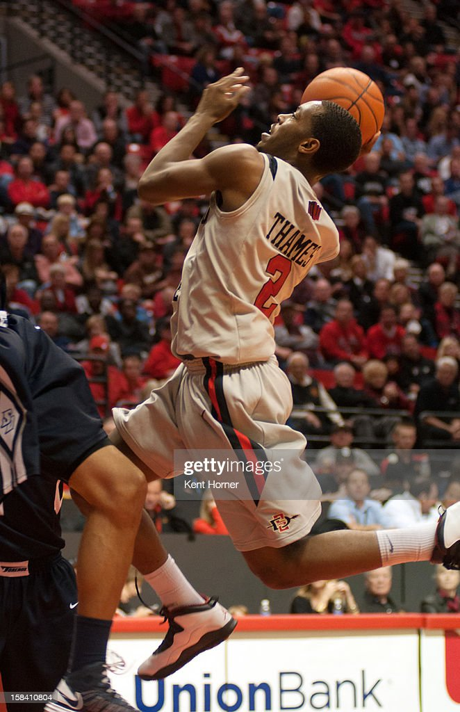 SAN DIEGO, CA - DECEMBER 15 - Xavier Thames #2 of the San Diego State Aztecs shoots the ball in the second half of the game against the University of San Diego Tereros at Viejas Arena on December 15, 2012 in San Diego, California.