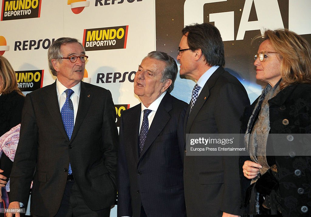 Xavier Trias, Count of Godo Javier Godo, Artur Mas and Helena Rakosnik attend the Sport Annual Gala In Barcelona at palau de Congresos on February 11, 2013 in Barcelona, Spain.