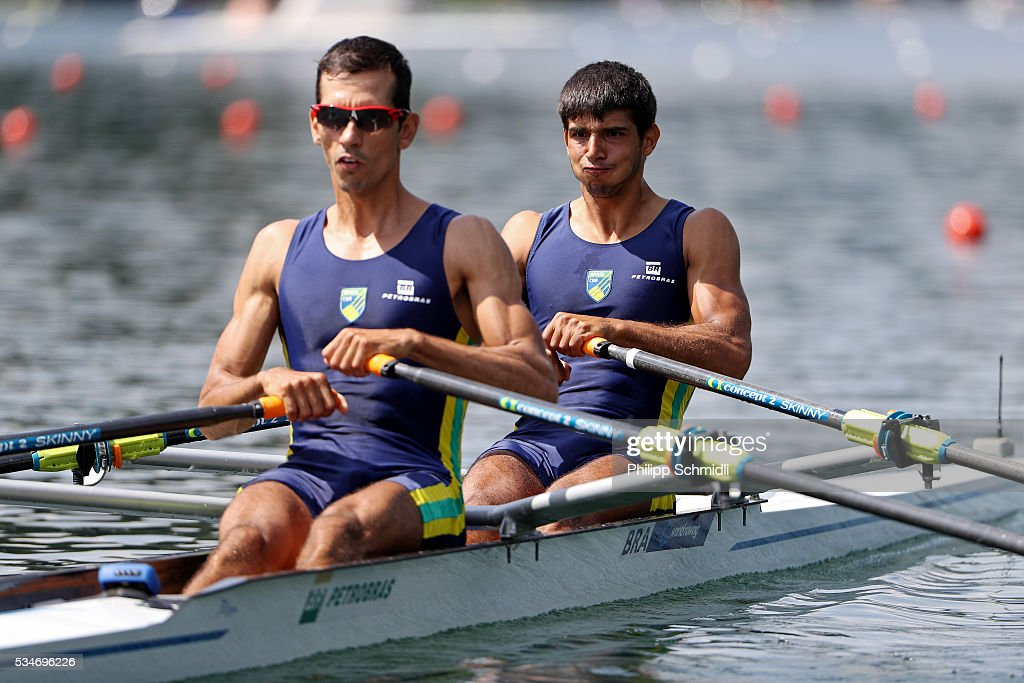 Xavier Vela Maggi (R) and Willian Giaretton of Brazil compete in the Lightweight Men's Double Sculls heats during day 1 of the 2016 World Rowing Cup II at Rotsee on May 27, 2016 in Lucerne, Switzerland.