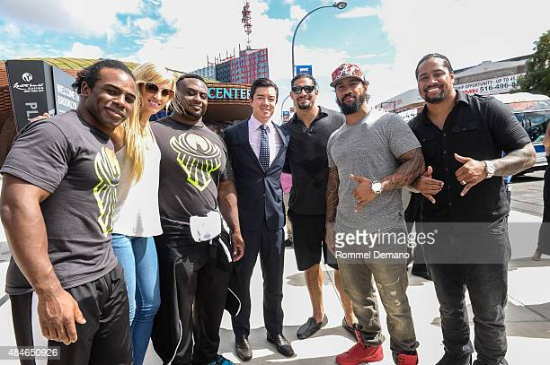 Xavier Woods Summer Rae Big E Keith Sheldon Roman Reigns Jey Uso and Jimmy Uso attend WWE Answer The Call Tour visits The Barclay Center at Barclays...