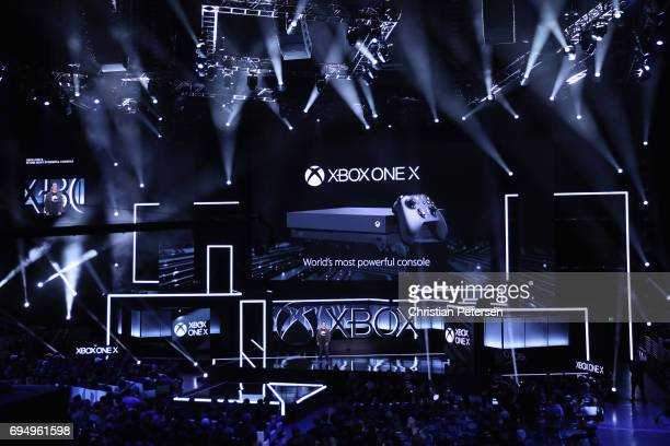 Xbox chief Phil Spencer introduces the 'Xbox One X' during the Microsoft xBox E3 briefing at the Galen Center on June 11 2017 in Los Angeles...