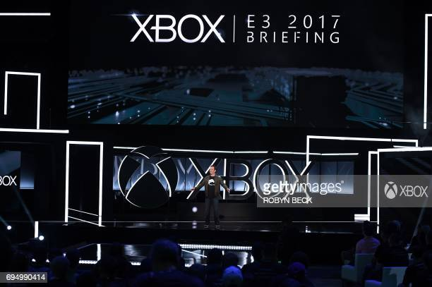 Xbox chief Phil Spencer speaks at the Microsoft Xbox E3 2017 Briefing June 11 2017 at the Galen Center in Los Angeles California The Electronic...