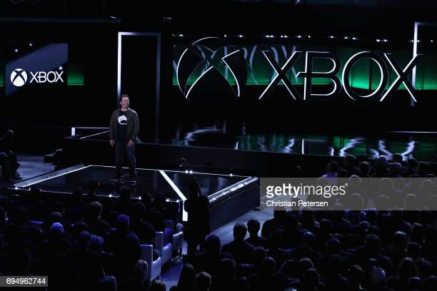 Xbox chief Phil Spencer speaks during the Microsoft xBox E3 briefing at the Galen Center on June 11 2017 in Los Angeles California The E3 Game...