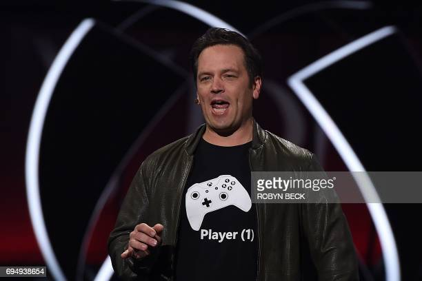 Xbox chief Phil Spencer speaks on stage at the Microsoft Xbox E3 2017 Briefing June 11 2017 at the Galen Center in Los Angeles California The...