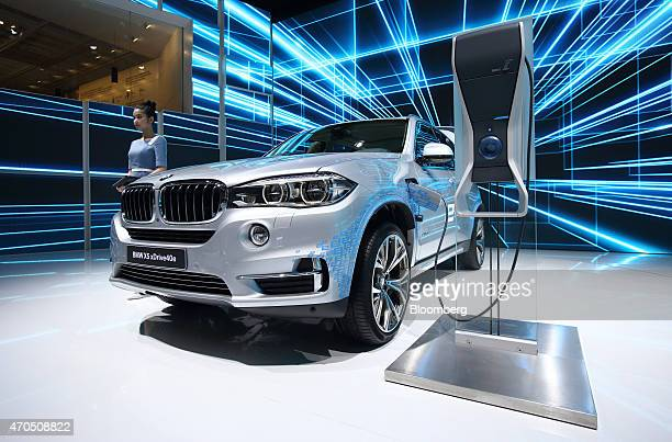 X5 xDrive40e plugin hybrid vehicle stands on display at the 16th Shanghai International Automobile Industry Exhibition in Shanghai China on Tuesday...