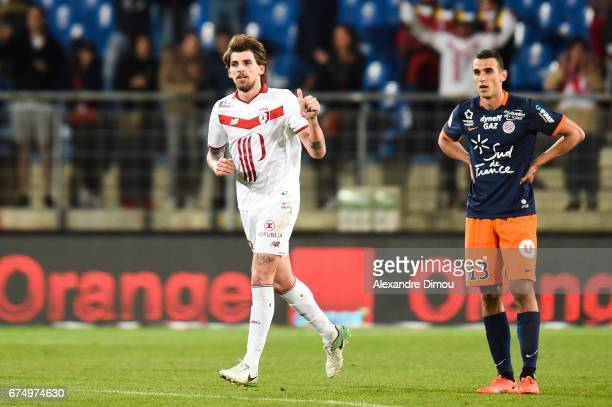 Xeka of Lille celebrates his goal during the French Ligue 1 match between Montpellier and Lille at Stade de la Mosson on April 29 2017 in Montpellier...