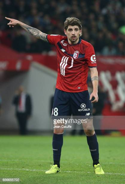 Xeka of Lille gestures during the Ligue 1 match between Lille OSC and Olympique de Marseille at Stade PierreMauroy on March 17 2017 in Lille France