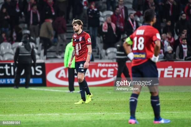 Xeka of Lille looks dejected during the French Ligue 1 match between Lille and Bordeaux at Stade PierreMauroy on February 25 2017 in Lille France
