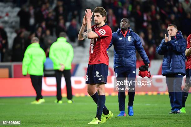 Xeka of Lille salutes the crowd after the Ligue 1 match between Lille OSC and Olympique de Marseille at Stade Pierre Mauroy on March 17 2017 in Lille...