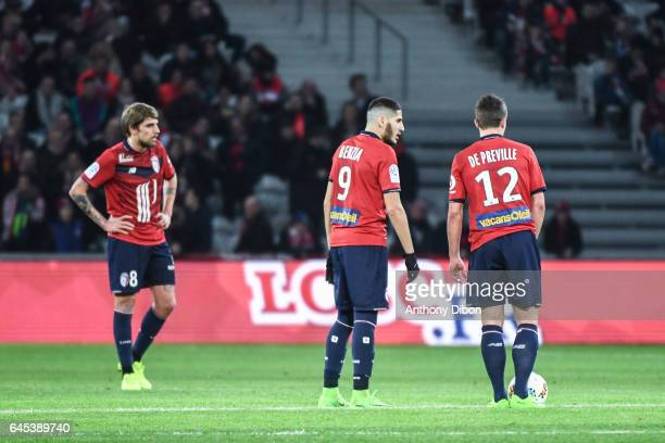 Xeka Yassine Benzia and Nicolas De Preville of Lille looks dejected during the French Ligue 1 match between Lille and Bordeaux at Stade PierreMauroy...