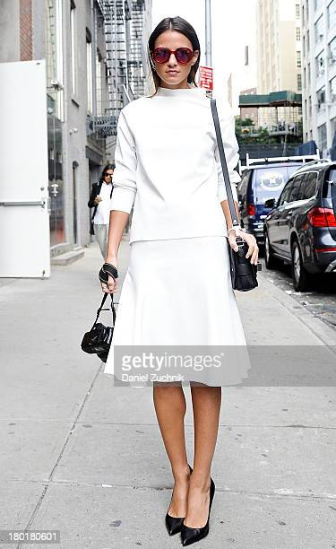 Xena is seen outside the Donna Karan New York show wearing a Zara top with skirt Louis Vuitton shoes Proenza Schouler bag and Marc Jacobs sunglasses...